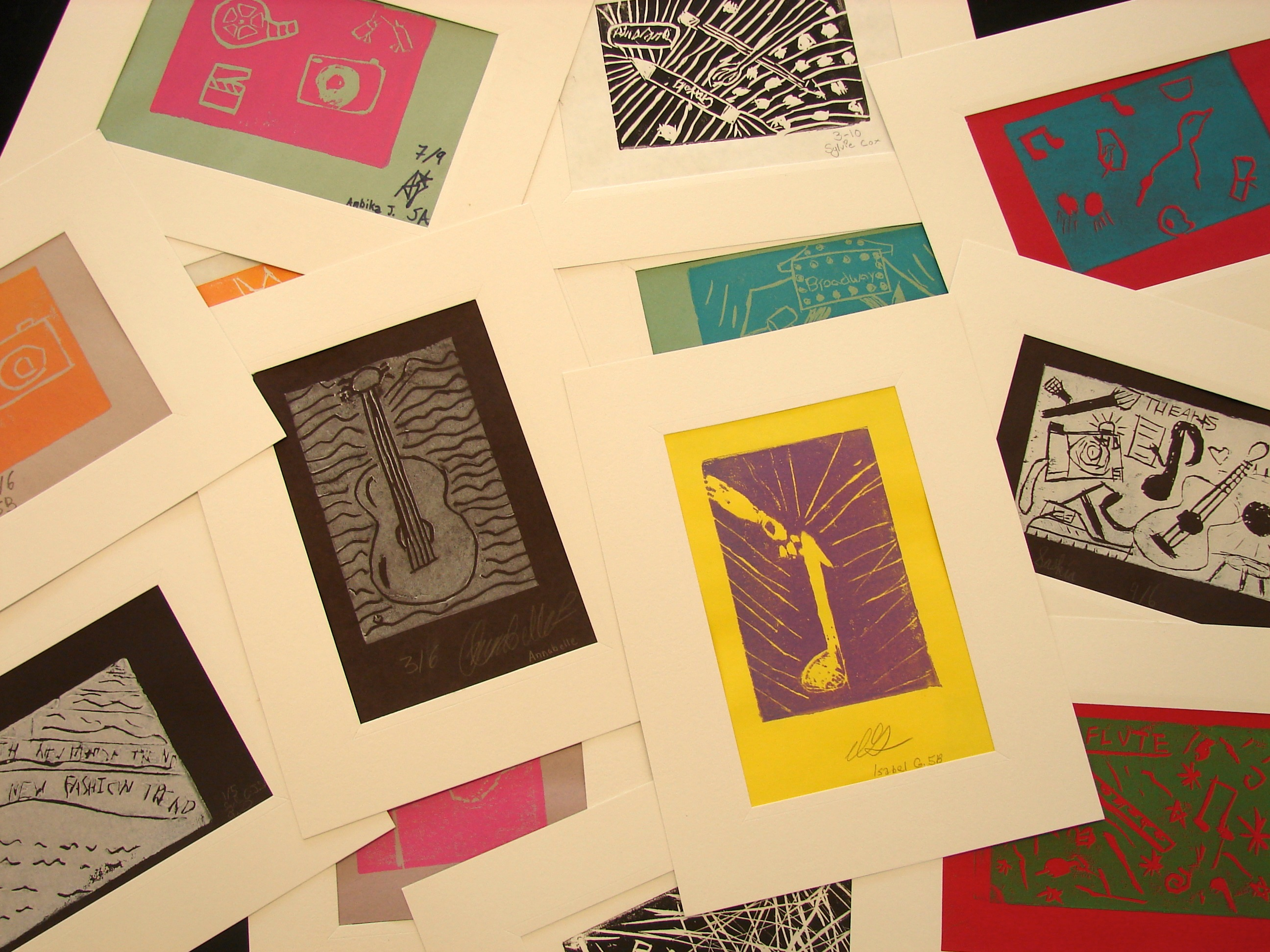 Prints by Pedro Mena's 5th grade art class