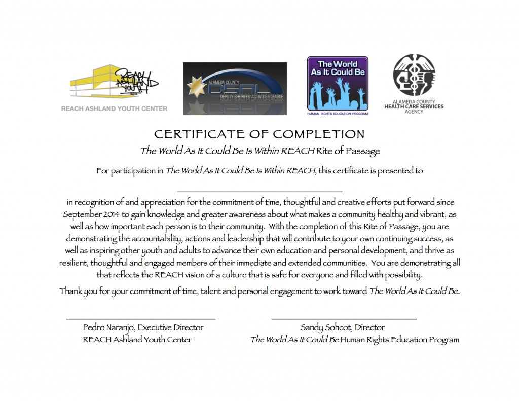 certificate of completion for rite of passage ceremony