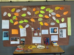 Bulletin board showing tree with phrases related to human rights