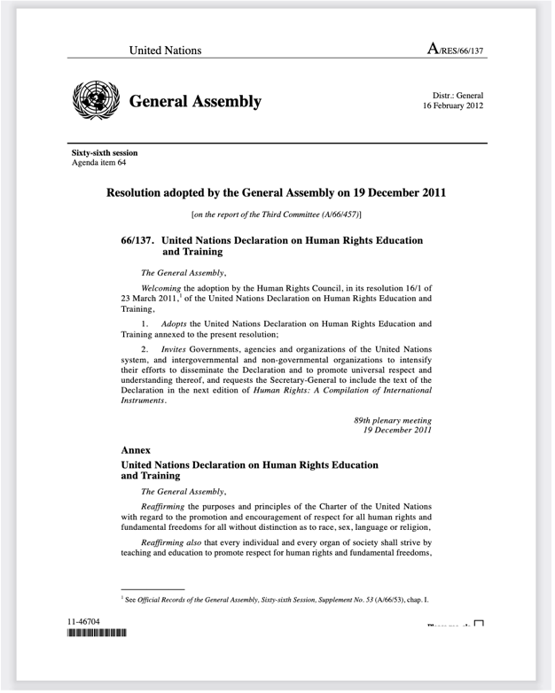 UN General Assembly adopted the Declaration of Human Rights Education and Training